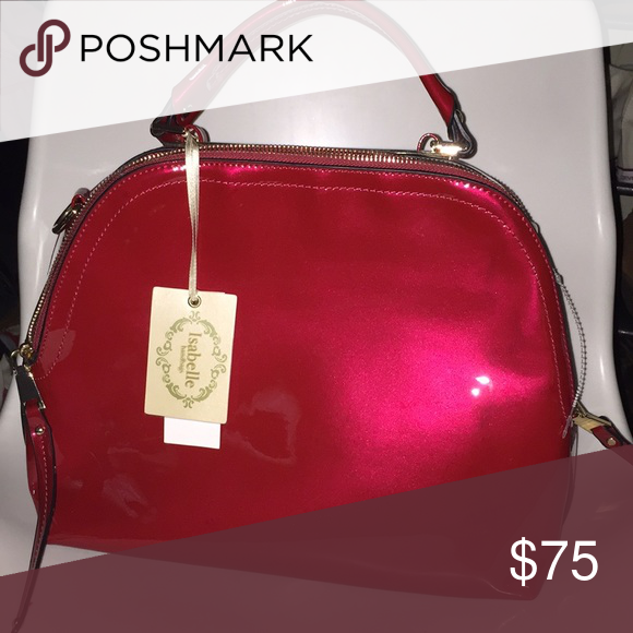 Isabelle Vegan Purse Candy Red Patent Leather New Great Gold Zippers On