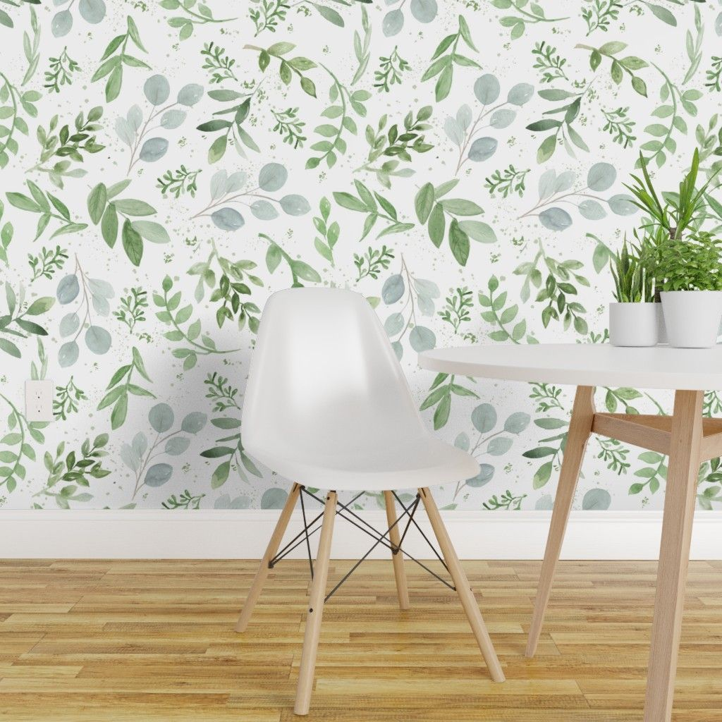 Colorful Fabrics Digitally Printed By Spoonflower Seamless Watercolor Larger Leaves Pattern 1 Decor Wallpaper Panels Removable Wallpaper
