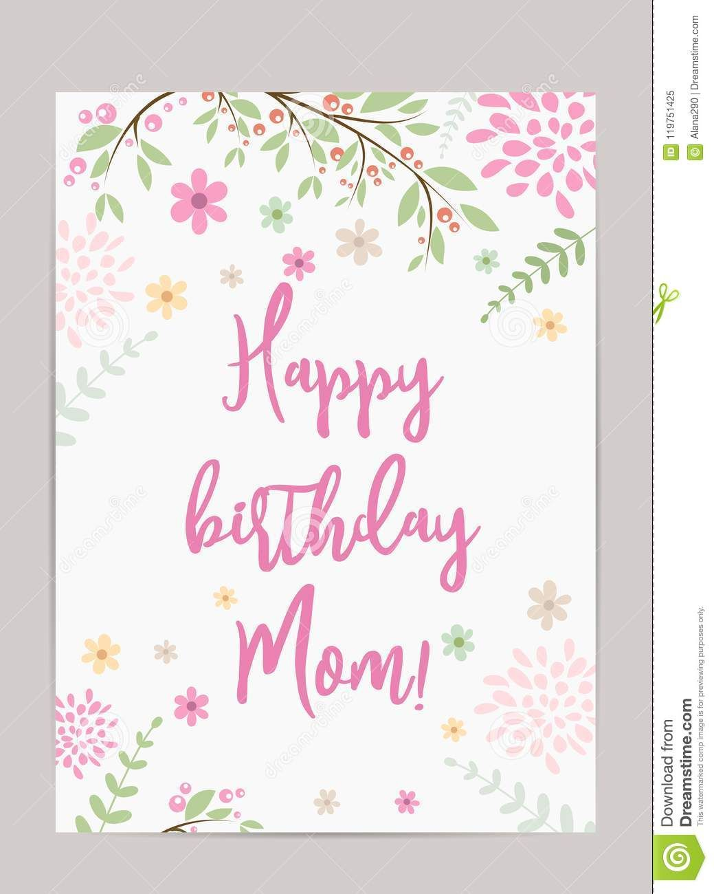 The Extraordinary Happy Birthday Mom Greeting Card Stock Vector Pertaining To Mom Birthday Birthday Cards For Mom Cool Birthday Cards Birthday Card Printable