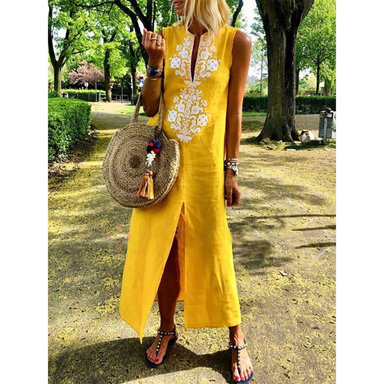 aaaff91504fa Women Shift Daytime Sleeveless Casual Slit Geometric Dress   My ...