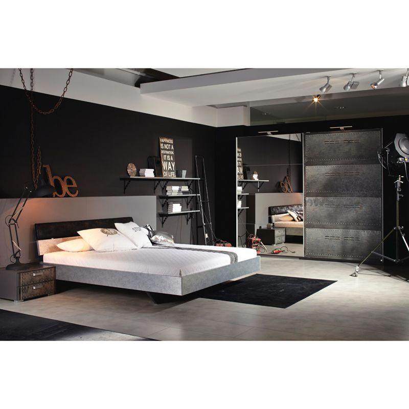 Schlafzimmer Jugendzimmer Set LOFTE221 Industrial-Print-Optik