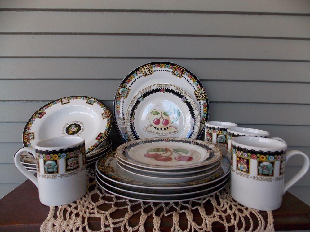 16 Piece Mary Engelbreit Dinnerware Set Love Home Family Friend