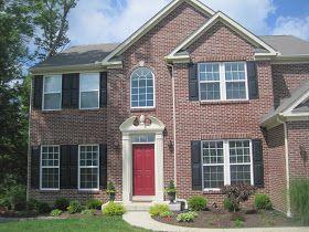 Brick House Black Shutters Red Door