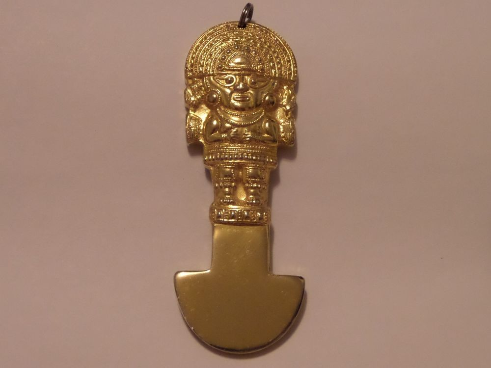 Vintage gold plated made in peru aztec mayan pendant about 3 916 vintage gold plated made in peru aztec mayan pendant about 3 916 heavy aloadofball Images