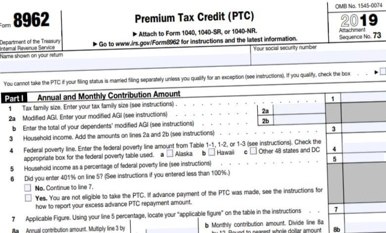 8962 Form 2021 Irs Taxes Tax Forms Federal Income Tax