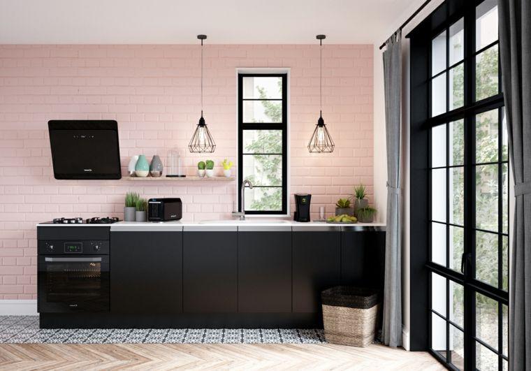 Cucine moderne piccole e di design. nate di colore nero e una cappa ...