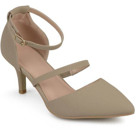 Brinley Co. Womens Double Strap Faux Suede Pointed Toe Pumps, Beige