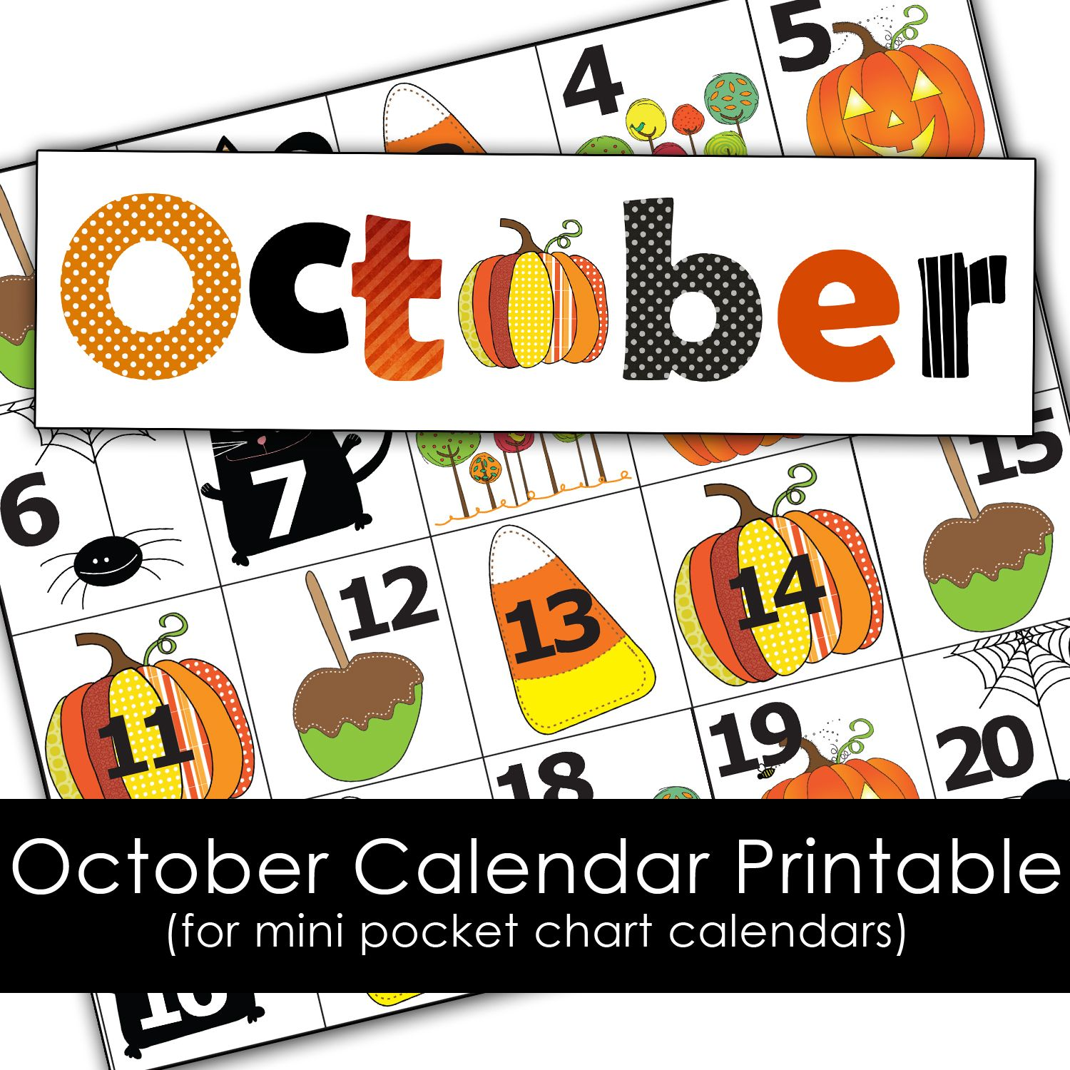 Free October Calendar Printables For Mini Pocket Chart Calendar School