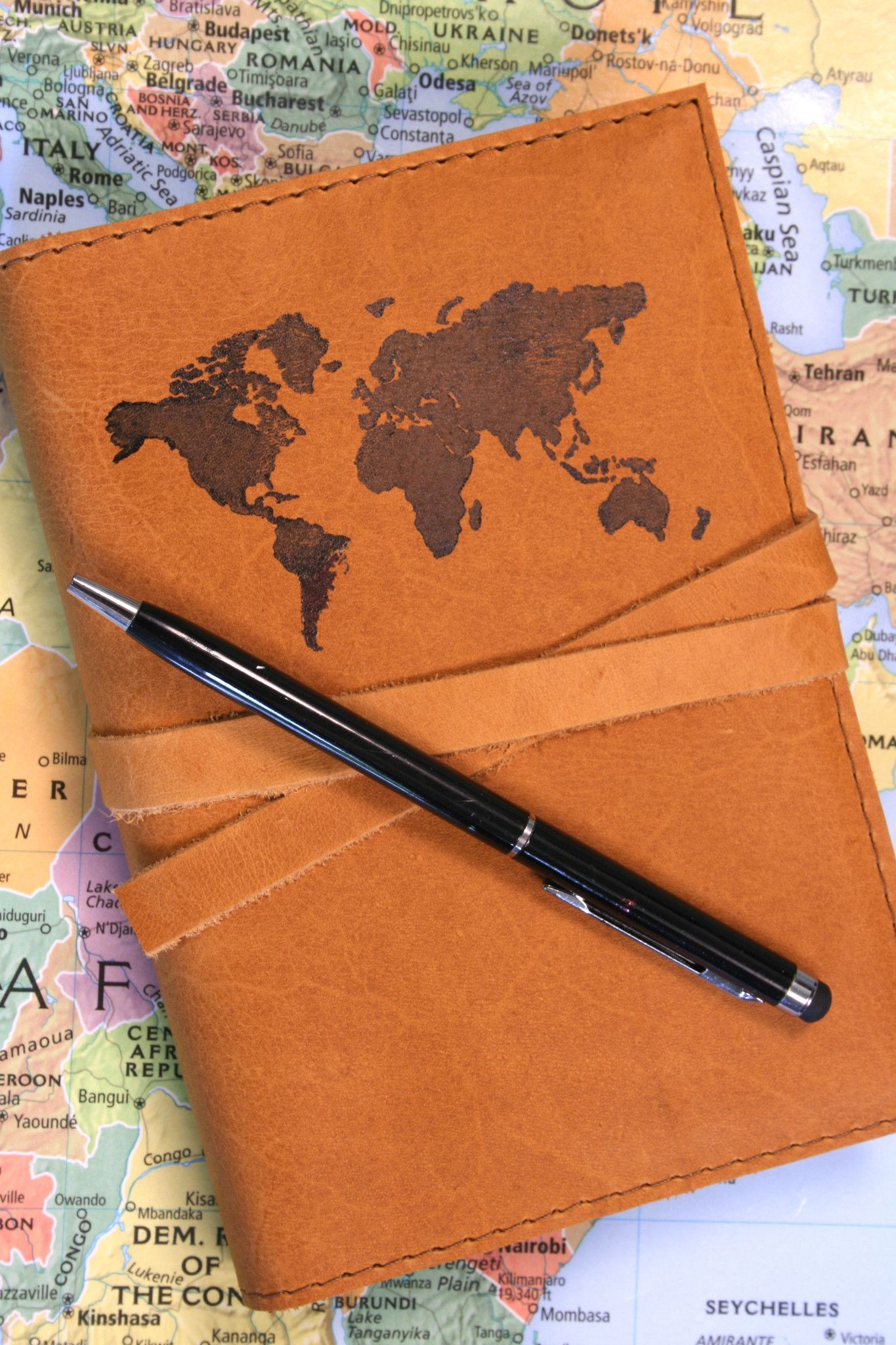 World map leather journal journal united states and free shipping good notebook for a travel journalist gumiabroncs Choice Image