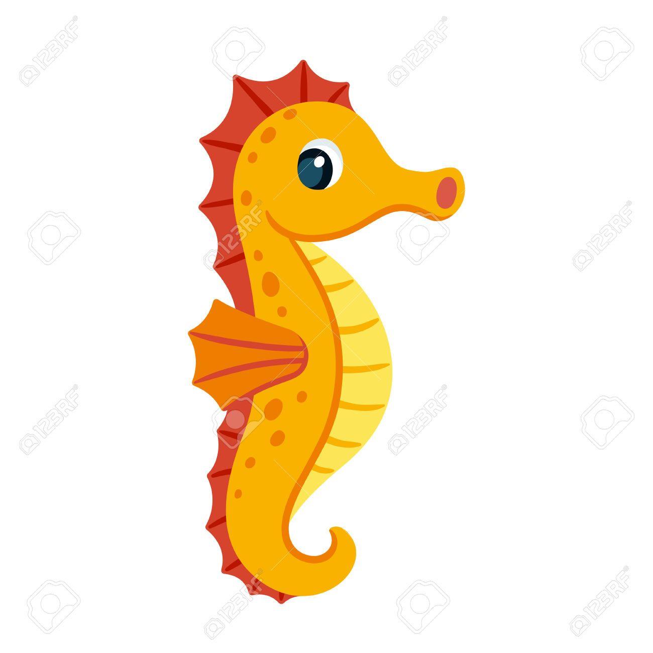 63947741-Dibujo-animado-lindo-caballito-de-mar-de-color-naranja ...
