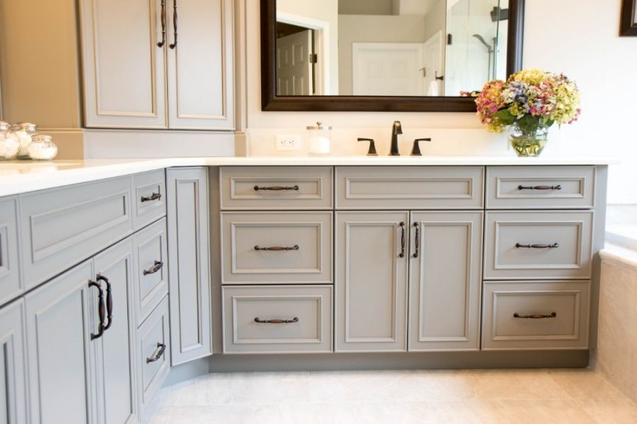 Gray Bathroom Vanity Cabinets With White Quartz Counter Large