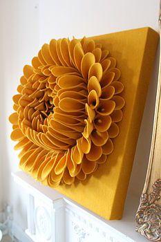 handmade felt flower wall art - want!