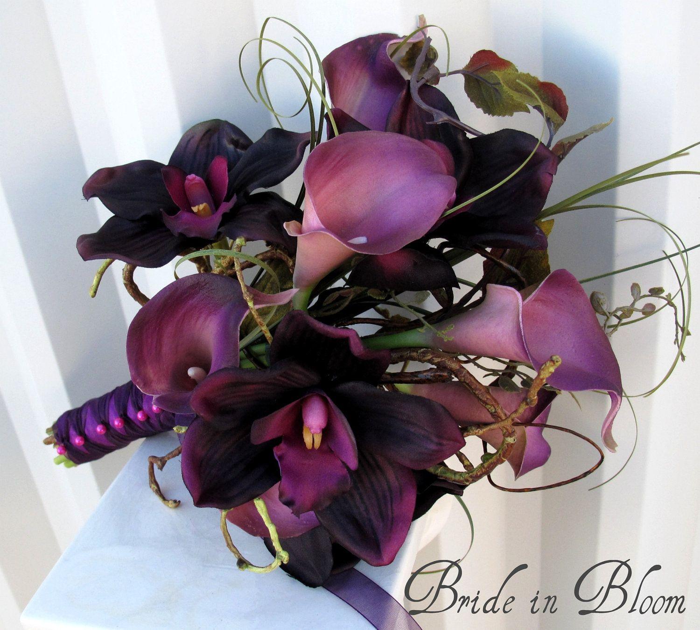 Purple Wedding Flowers Calla Lily Bridal Bouquet Orchid Plum Lilac