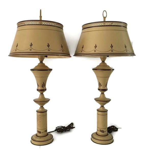 Tole Table Lamps Touchiere Set of Two Hand by TreasuresFoundShoppe