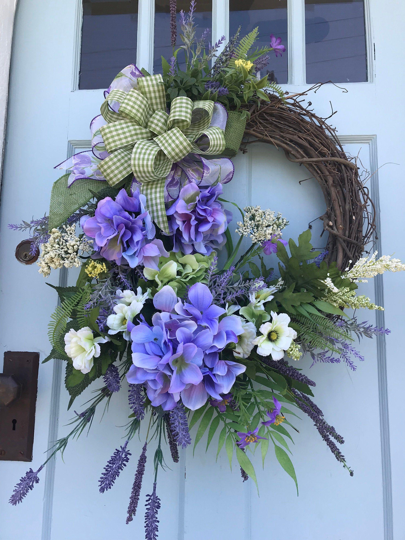 Photo of Purple Hydrangea Summer Grapevine Wreath for Door. Wreaths, wreaths for front door, farmhouse Wreath, Summer wreath with Plaid, Summer Decor