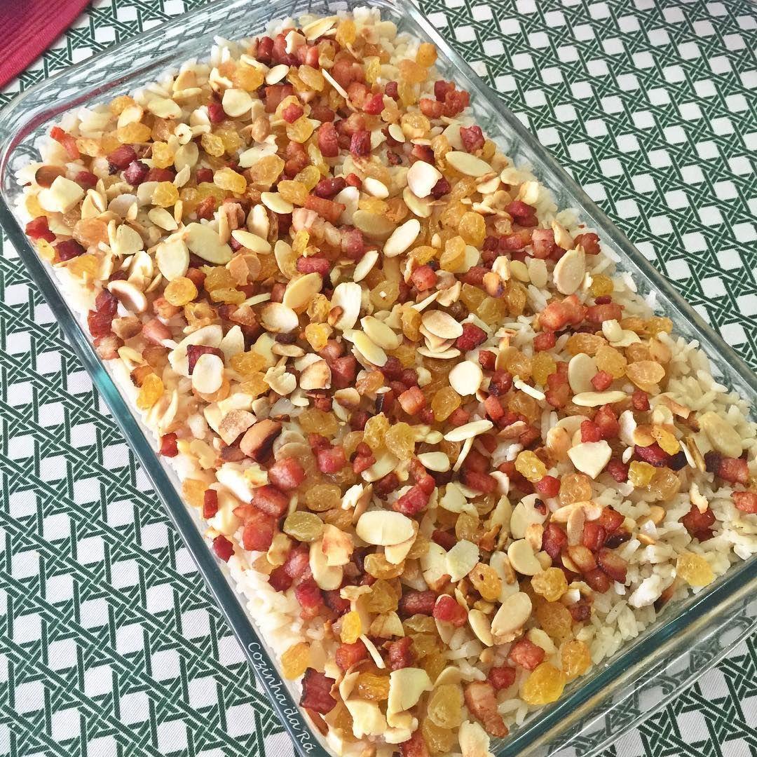Arroz com Amndoas Bacon e Uvas Passas o arroz ficahellip