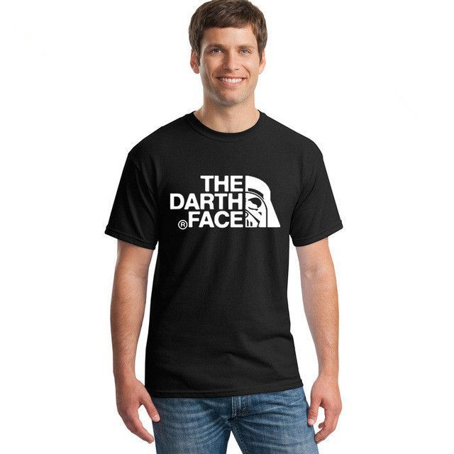 THE DARTH FACE T Shirts Men O Neck USA 100% Cotton T-Shirts For Man Black Tshirt Homme Brand Clothes Summer