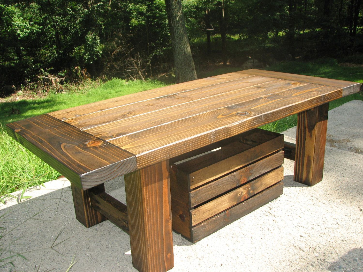Distressed Coffee Table with Storage Crate, Modern