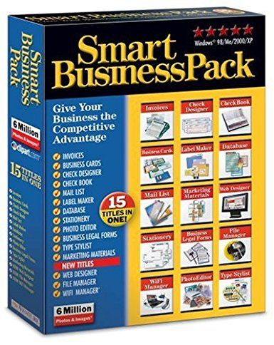 Smart Business Pack  - 15 software titles essential for every business. Manage business information and legal transactions Create checks and manage your business finances. Design everything you need to market your business  - CONTAINS: INVOICES, BUSINESS CARDS, CHECK DESIGNER, CHECK BOOK, MAIL LIST, LABEL MAKER, DATABASE, STATIONERY, PHOTO EDITOR, BUSINESS LEGAL FORMS, TYPE STYLIST, MARKETING MATERIALS, WEB DESIGNER, FILE MANAGER, WIFI MANAGER