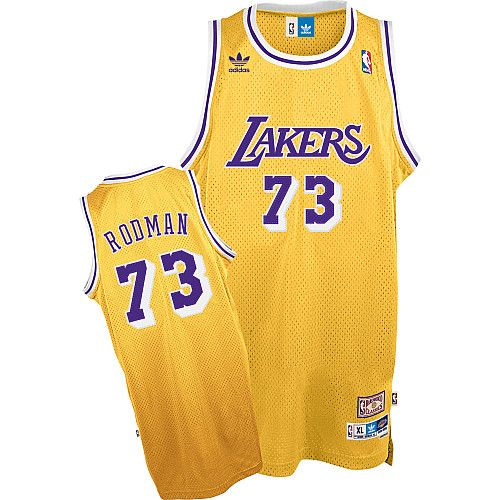 294dfc6965950 Los Angeles Lakers Dennis Rodman 73 Yellow Authentic Jersey Sale ...