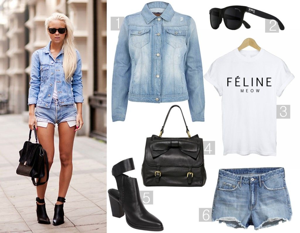 ways to wear the denim jacket   denim shorts   summer outfit   ...