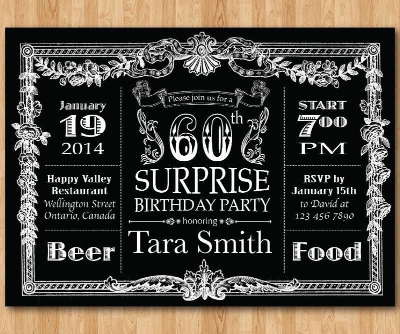 Vintage 60th Birthday Invitations for Men | Tom\'s 60th | Pinterest ...