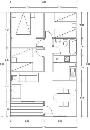 Construccion de casas de 60 m2 para disfrutar en familia for Casas de tres recamaras