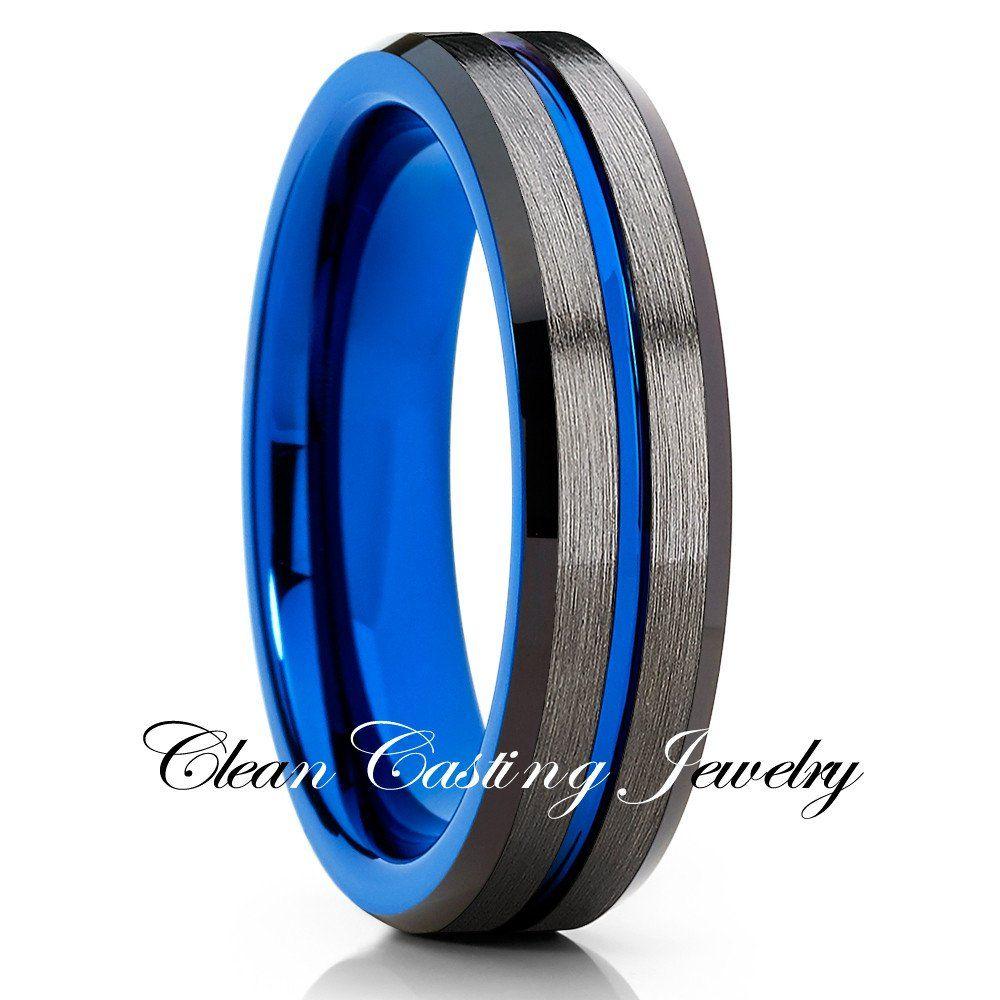 6mmbrushed Gunmetal Tungsten Ringgray Tungstenwedding Bandunique Ringblue Ringmens Wedding Band: Wedding Band Gunmetal Blue At Websimilar.org