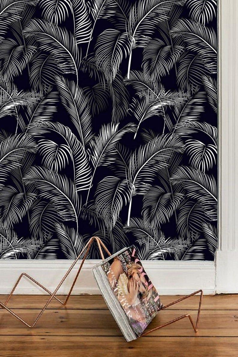 Wall Paper Palm Leaf Wallpaper Wall Mural Removable Etsy In 2021 Palm Leaf Wallpaper Wall Wallpaper Leaf Wallpaper
