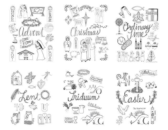 Look to him and be radiant the liturgical year coloring for Catholic liturgical year coloring page