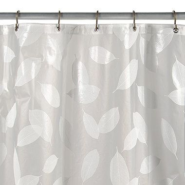 Modern Leaf White Vinyl Shower Curtain Vinyl Shower Curtains Silver Shower Curtain Unique Shower Curtain