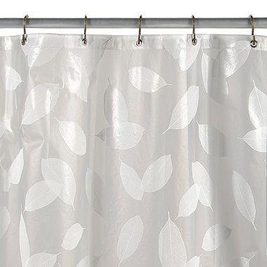 Modern Leaf White Vinyl Shower Curtain Vinyl Shower Curtains