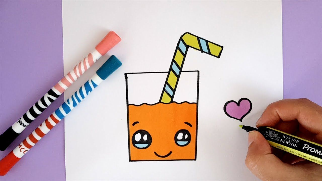 HOW TO DRAW A CUTE ORANGE JUICE EASY KAWAII YouTube