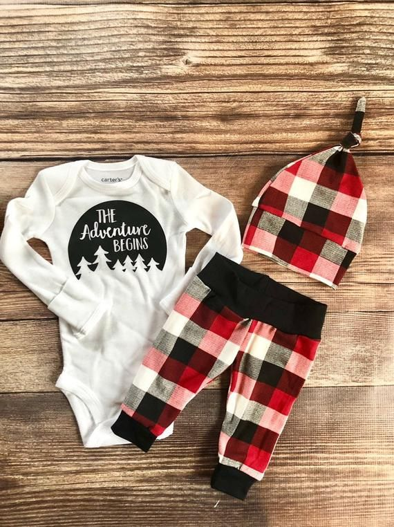 Photo of The Adventure Begins Buffalo Plaid Baby Boy Newborn Outfit, Coming home outfit, going home outfit, Personalized Bodysuit, Plaid, Lumberjack