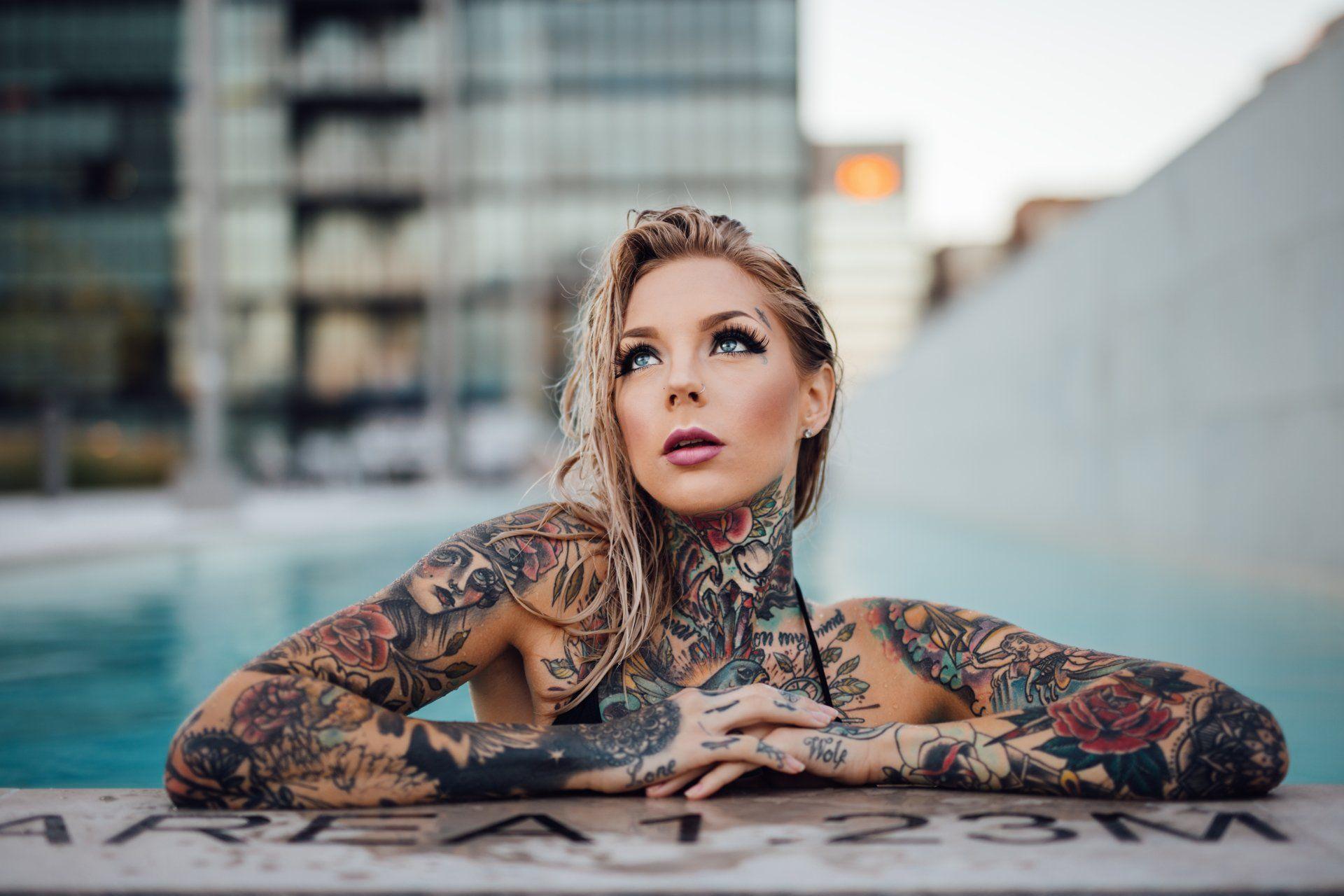 Women Tattoo Woman Model Blonde Blue Eyes Bokeh Wallpaper