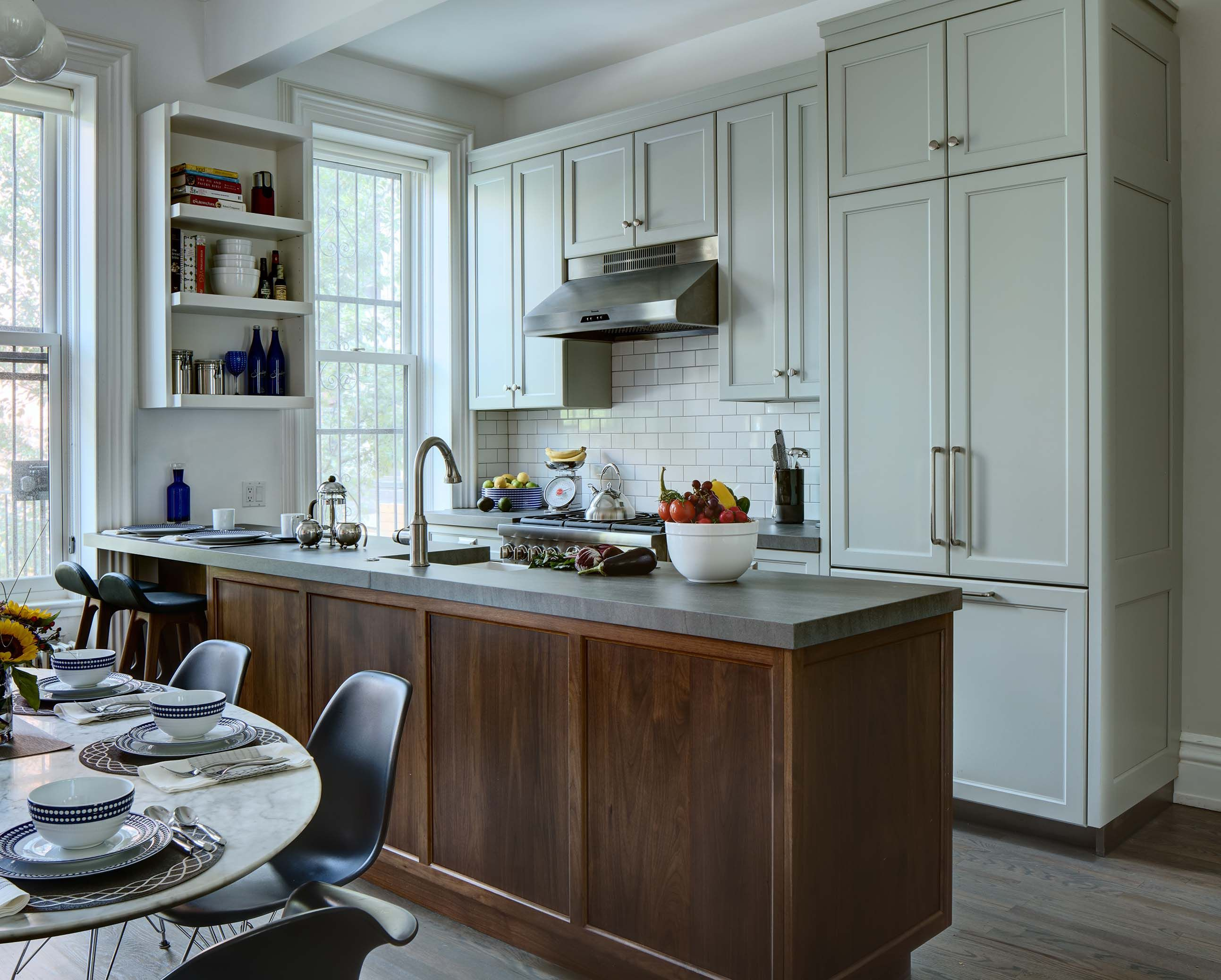 custom kitchen design - Walnut base cabinetry, paint wall and tall ...