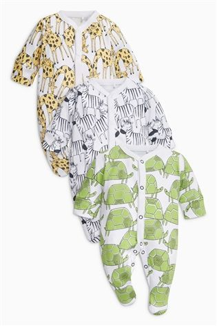 0b4706fcb Buy White Animal Character Sleepsuits Three Pack (0mths-2yrs) from ...