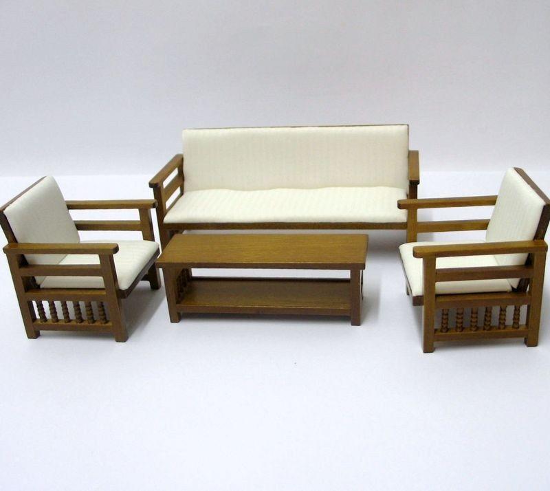 Puppenhaus Couchgarnitur Sofa, Sessel, Tisch Beige Möbel Wohnzimmer  Miniatur 1:12