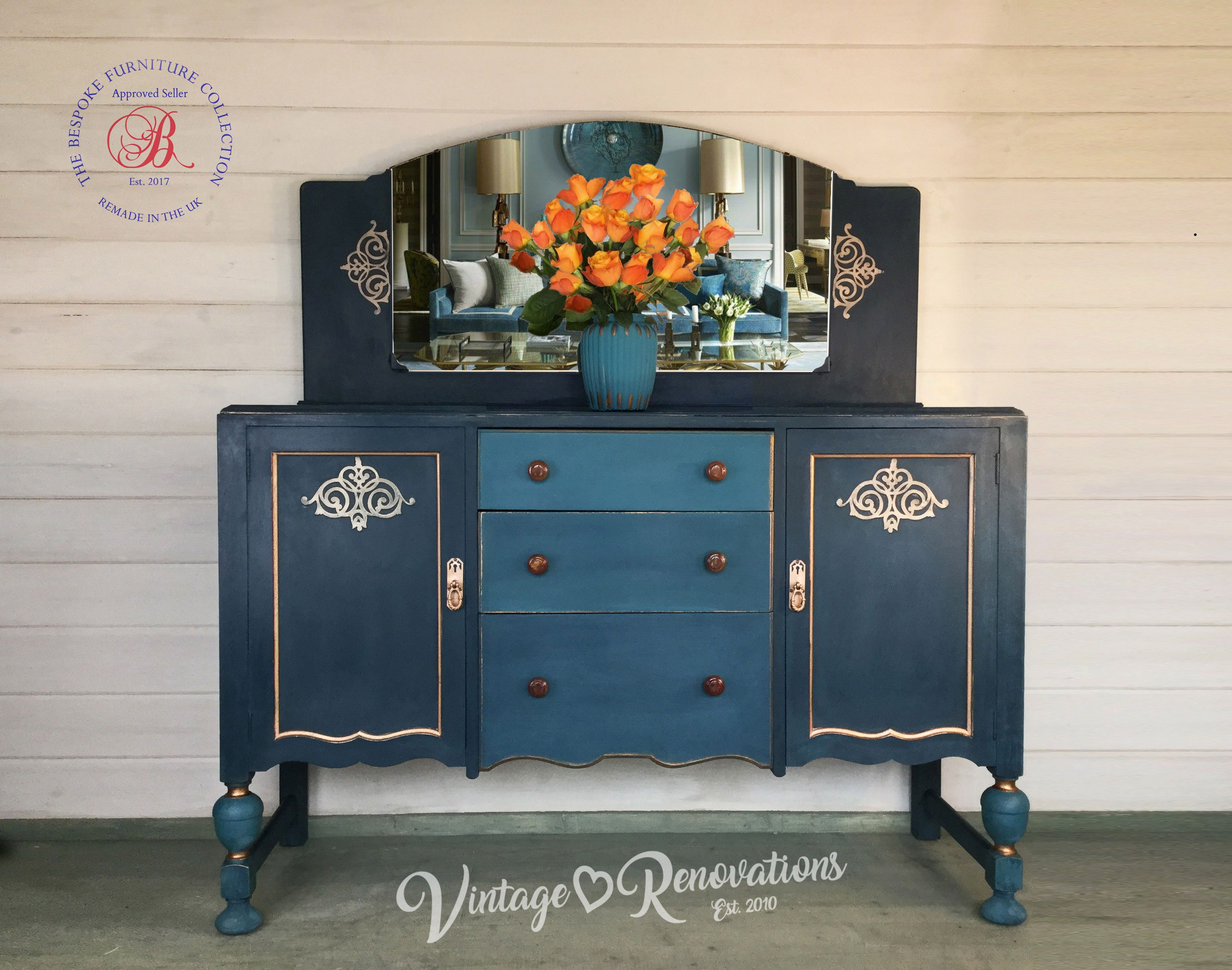 A Beautiful Vintage Dresser Hand Painted With Annie Sloan Aubusson
