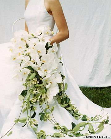 Bouquet woven from phalaenopsis orchids and trimmed with stephanotis that flow to the ground. From Martha Stewart Weddings, Fall 2002. Absolutely love the stephanotis!