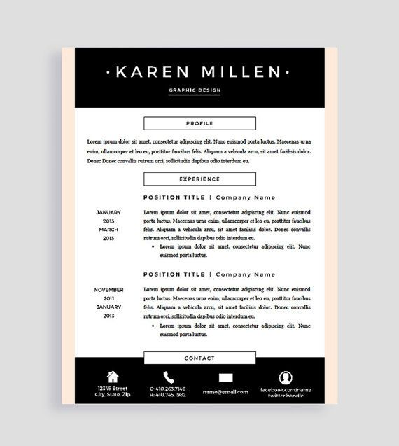 Creative Resume Template And Cover Letter For Word And Pages  Two