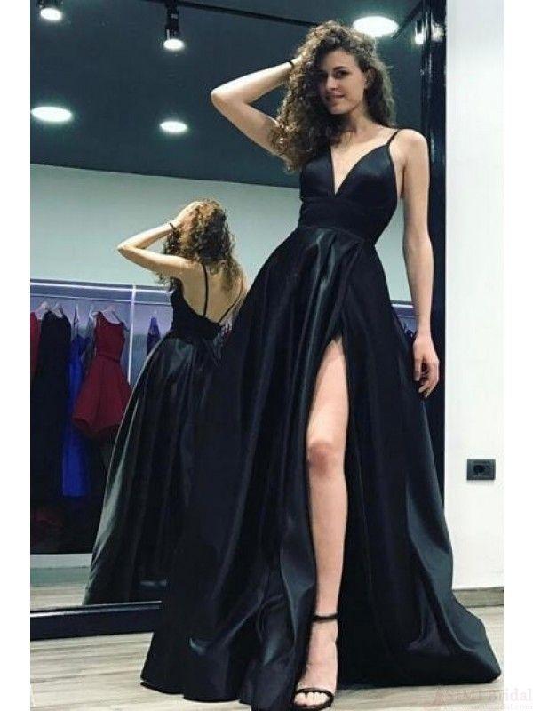 6cef0123f77 A Line Black Spaghetti Straps Long Satin Prom Dresses (ED2279)
