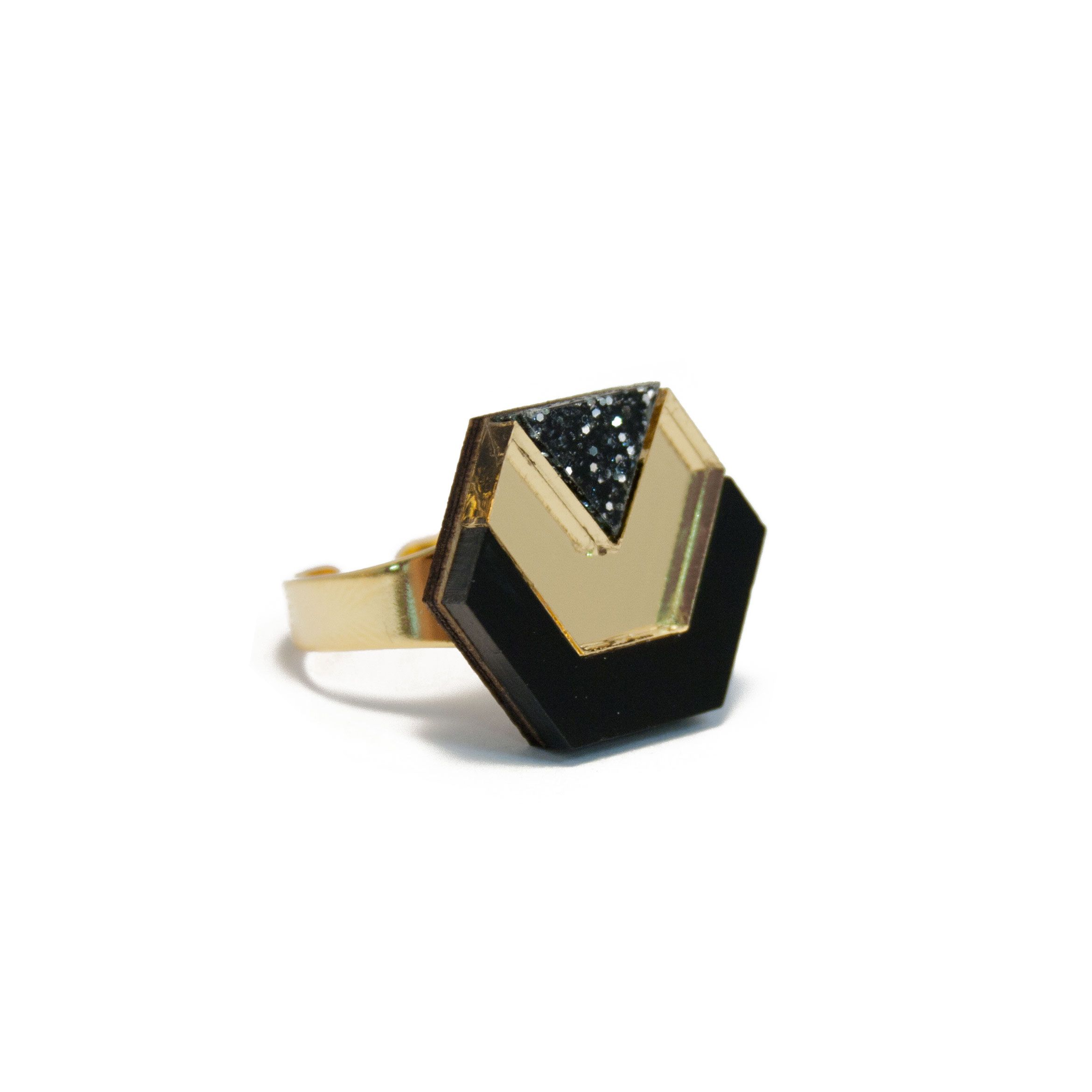 Hex Ring in Black & Gold Glitter. By Wolf & Moon