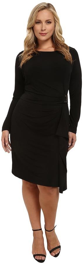MICHAEL Michael Kors Plus Size Logo Plate Trim Matte Jersey Dress