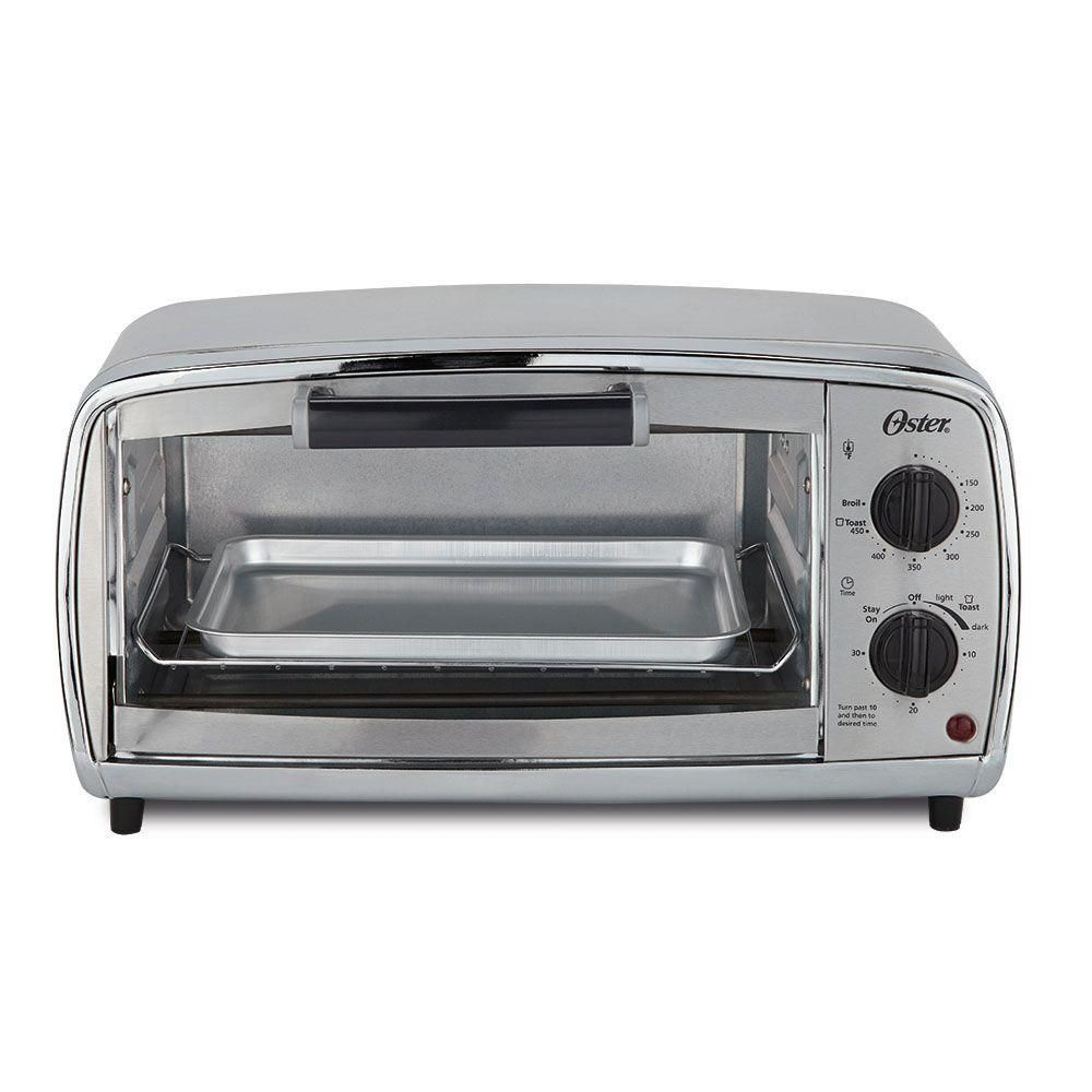 Oster 1000 W 4 Slice Stainless Toaster Oven With Broiling Rack