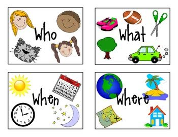 "A Freebie today!Download these cards and use as a visual cue when teaching and asking ""WH"" questions. -Who-What-When-Where"