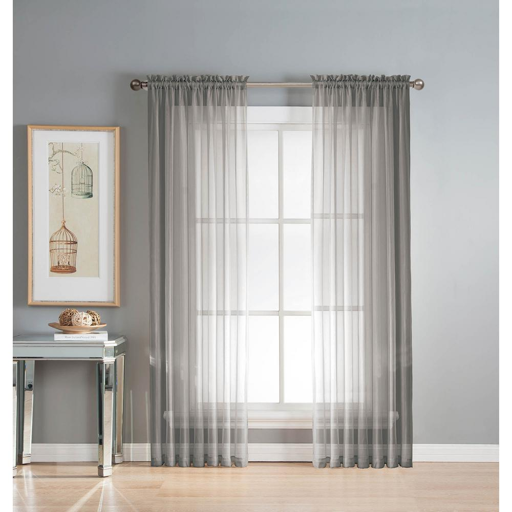 Window Elements Sheer Diamond Sheer Voile Extra Wide 84 In. L Rod Pocket  Curtain Panel