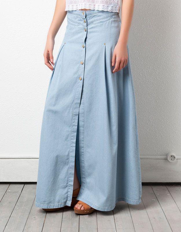 31ce0242b3 falda de jeans larga