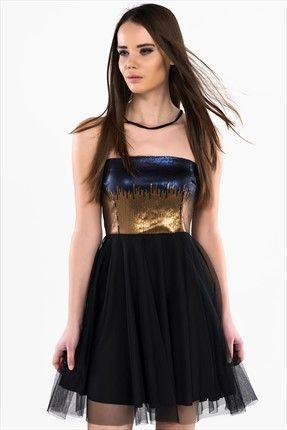 2f11df9df30 Siyah Elbise 5010-1003 İroni