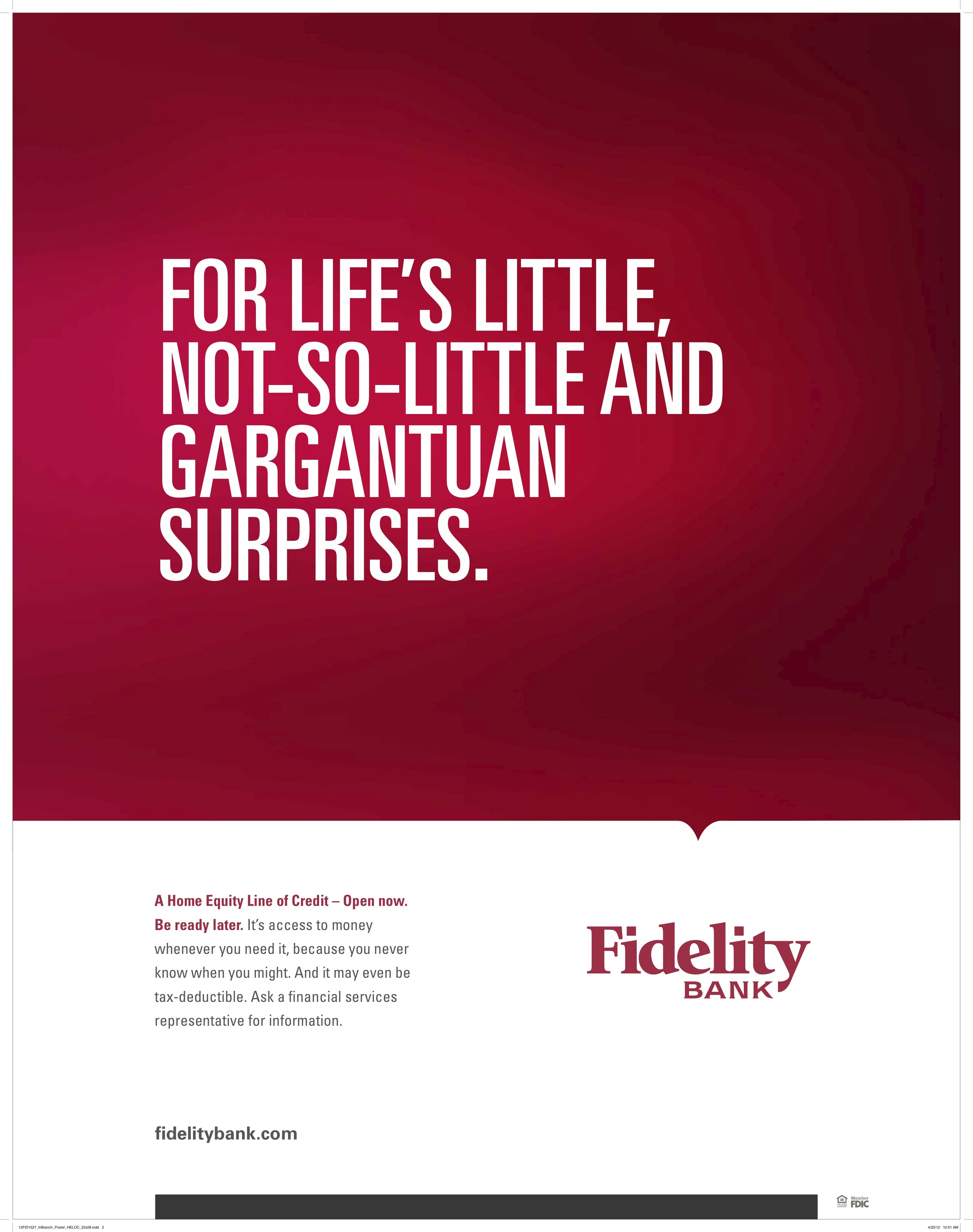 Fidelity Bank Poster, HELOC Home equity line, Line of